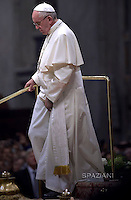 """Pope Francis  During The """"To Dry the Tears"""" vigil for people in suffering, to mark the Catholic feast of Ascension at the Saint Peter's Basilica in the Vatican. On May 5, 2016"""