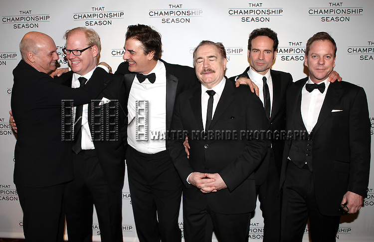 Jim Gaffigan, Chris Noth, Gregory Mosher, Brian Cox, Jason Patric and Kiefer Sutherland.attending the Opening Night Performance After Party for  'That Championship Season' at Gotham Hall in New York City.