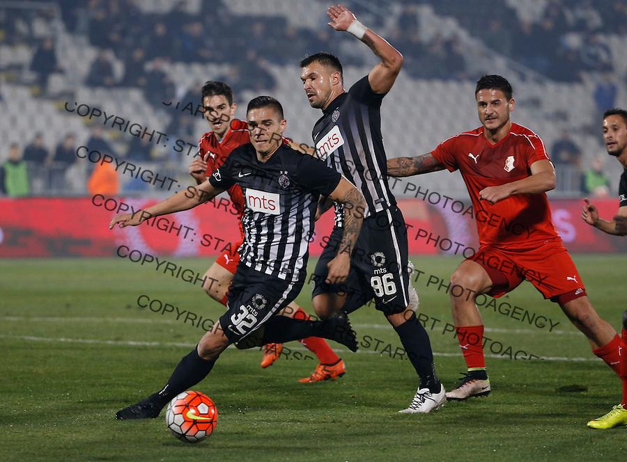 Fudbal Super League season 2016-2017<br /> Partizan v Napredak (Krusevac)<br /> Uros Djurdjevic (L) Valeri Bozhinov (Bojinov) and Bojan Miladinovic (R)<br /> Beograd, 25.11.2016.<br /> foto: Srdjan Stevanovic/Starsportphoto&copy;
