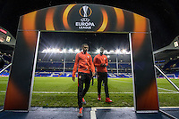 Monaco players come off the field after inspecting the pitch pre match during the UEFA Europa League group match between Tottenham Hotspur and Monaco at White Hart Lane, London, England on 10 December 2015. Photo by Andy Rowland.