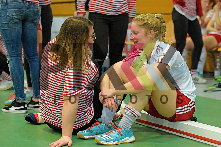 GER - Luebeck, Germany, February 06: After the 1. Bundesliga Damen indoor hockey semi final match at the Final 4 between Rot-Weiss Koeln (white) and Mannheimer HC (blue) on February 6, 2016 at Hansehalle Luebeck in Luebeck, Germany. Final score 1-2 (HT 0-2).  <br /> <br /> Foto &copy; PIX-Sportfotos *** Foto ist honorarpflichtig! *** Auf Anfrage in hoeherer Qualitaet/Aufloesung. Belegexemplar erbeten. Veroeffentlichung ausschliesslich fuer journalistisch-publizistische Zwecke. For editorial use only.