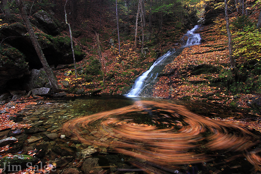 A waterfall slide on the Bickford Brook in Evans Notch, New Hampshire creates a swirl of autumn leaves.
