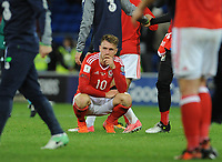 Wales'  Aaron Ramsey looks dejected at the final whistle <br /> <br /> Photographer Ian Cook/CameraSport<br /> <br /> FIFA World Cup Qualifying - European Region - Group D - Wales v Republic of Ireland - Monday 9th October 2017 - Cardiff City Stadium - Cardiff<br /> <br /> World Copyright &copy; 2017 CameraSport. All rights reserved. 43 Linden Ave. Countesthorpe. Leicester. England. LE8 5PG - Tel: +44 (0) 116 277 4147 - admin@camerasport.com - www.camerasport.com