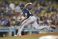 05/31/12 Los Angeles, CA: Milwaukee Brewers relief pitcher Jose Veras #40 during an MLB game between the Milwaukee Brewers and the Los Angeles Dodgers played at Dodger Stadium. The Brewers defeated the Dodgers 6-2.