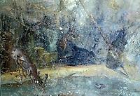 Italy: Pompeii--Pompeiian House Fresco--deer drinking.