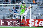 Stockholm 2014-04-27 Fotboll Allsvenskan Djurg&aring;rdens IF - IF Brommapojkarna :  <br /> Brommapojkarnas m&aring;lvakt Ivo Vazgec plockar ner en boll i  en duell med Brommapojkarnas Gustav Sandberg Magnusson och Brommapojkarnas Tim Bj&ouml;rkstr&ouml;m <br /> (Foto: Kenta J&ouml;nsson) Nyckelord:  Djurg&aring;rden DIF Tele2 Arena Brommapojkarna BP