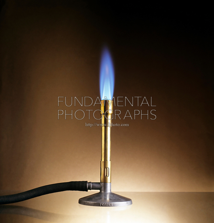 PROPANE FLAME OF BUNSEN BURNER<br /> C3H8 Burns In Air Producing A Blue Flame.