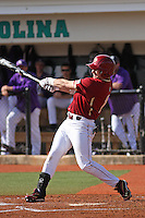 Boston College outfielder Tom Bourdon #7 at bat during a game against the James Madison University Dukes at Watson Stadium at Vrooman Field on February 18, 2012 in Conway, SC.  Boston College defeated James Madison 8-5.  (Robert Gurganus/Four Seam Images)