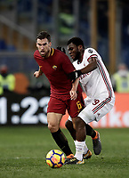 Calcio, Serie A: AS Roma - AC Milan, Roma, stadio Olimpico, 25 febbraio, 2018.<br /> Roma's Kevin Strootman (l) in action with Milan's Frank Kessie (r) during the Italian Serie A football match between AS Roma and AC Milan at Rome's Olympic stadium, February 28, 2018.<br /> UPDATE IMAGES PRESS/Isabella Bonotto