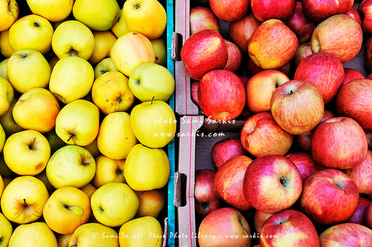 Green and Red Apples on display at store