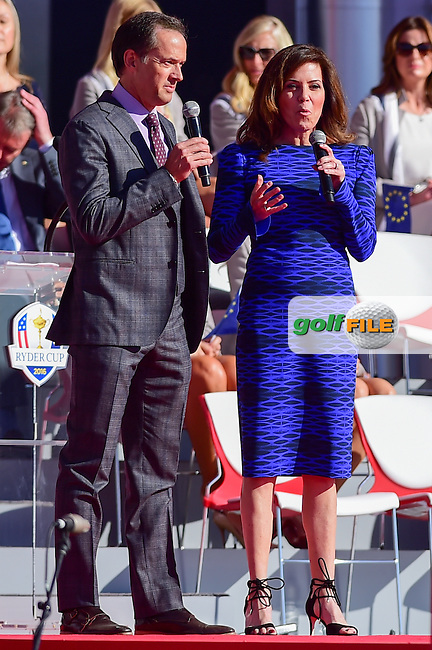 Dan Hicks and Michelle Tafoya speak during the Opening Ceremony at the Ryder Cup, Hazeltine National Golf Club, Chaska, Minnesota, USA.  9/29/2016<br /> Picture: Golffile | Ken Murray<br /> <br /> <br /> All photo usage must carry mandatory copyright credit (&copy; Golffile | Ken Murray)