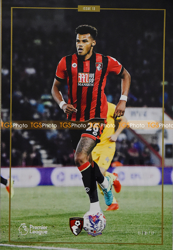Tyrone Mings of AFC Bournemouth on the front cover of the match programme during AFC Bournemouth vs Crystal Palace, Premier League Football at the Vitality Stadium on 31st January 2017
