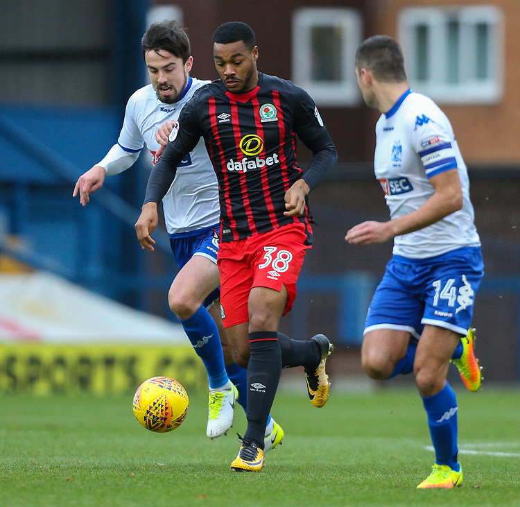 Blackburn Rovers' Joe Nuttall takes on Bury's Eoghan O'Connell and Phil Edwards<br /> <br /> Photographer Alex Dodd/CameraSport<br /> <br /> The EFL Sky Bet League One - Bury v Blackburn Rovers - Saturday 18th November 2017 - Gigg Lane - Bury<br /> <br /> World Copyright &copy; 2017 CameraSport. All rights reserved. 43 Linden Ave. Countesthorpe. Leicester. England. LE8 5PG - Tel: +44 (0) 116 277 4147 - admin@camerasport.com - www.camerasport.com