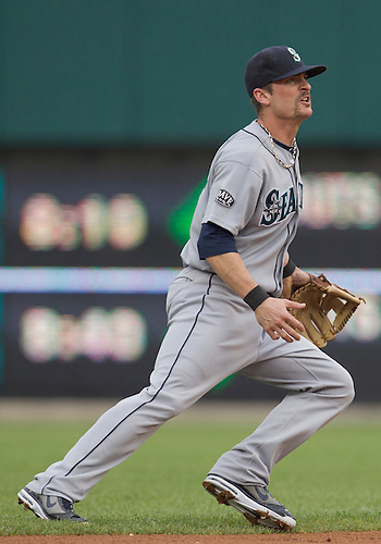 June 09, 2011:  Seattle Mariners shortstop Brendan Ryan (#26) in game action during MLB game between the Seattle Mariners and the Detroit Tigers at Comerica Park in Detroit, Michigan.  The Tigers defeated the Mariners 4-1.