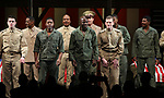 """Nate Mann, Rob Demery, McKinley Belcher III and Lee Aaron Rosen with cast During the Broadway Opening Night Curtain Call Bows for The Roundabout Theatre Company's """"A Soldier's Play""""  at the American Airlines Theatre on January 21, 2020 in New York City."""