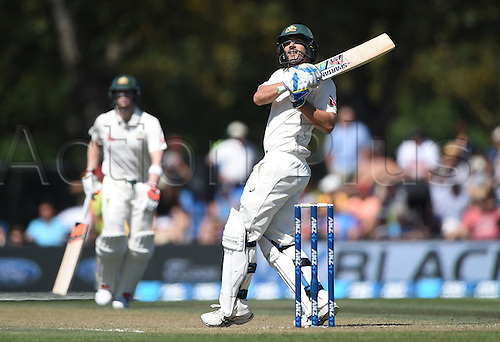 21.02.2016. Christchurch New Zealand.  Australia's Joe Burns batting on Day 2 of the 2nd test match. New Zealand Black Caps versus Australia. Hagley Oval in Christchurch, New Zealand. Sunday 21 February 2016.