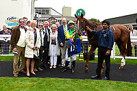 Connections of Keepers Choice in the winners enclosure after winning the Sorvio Insurance Maiden Fillies' Stakes, during Afternoon Racing at Salisbury Racecourse on 7th August 2017
