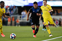 SAN JOSE, CA - AUGUST 03: Nick Lima, Pedro Santos  during a Major League Soccer (MLS) match between the San Jose Earthquakes and the Columbus Crew on August 03, 2019 at Avaya Stadium in San Jose, California.