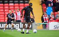 Lincoln City's John Akinde during the pre-match warm-up<br /> <br /> Photographer Chris Vaughan/CameraSport<br /> <br /> The Carabao Cup Second Round - Lincoln City v Everton - Wednesday 28th August 2019 - Sincil Bank - Lincoln<br />  <br /> World Copyright © 2019 CameraSport. All rights reserved. 43 Linden Ave. Countesthorpe. Leicester. England. LE8 5PG - Tel: +44 (0) 116 277 4147 - admin@camerasport.com - www.camerasport.com