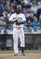 04 October 2009: Seattle Mariners left fielder #3 Bill Hall sets up in the batters box against the Texas Rangers. Seattle won 4-3 over the Texas Rangers at Safeco Field in Seattle, Washington.