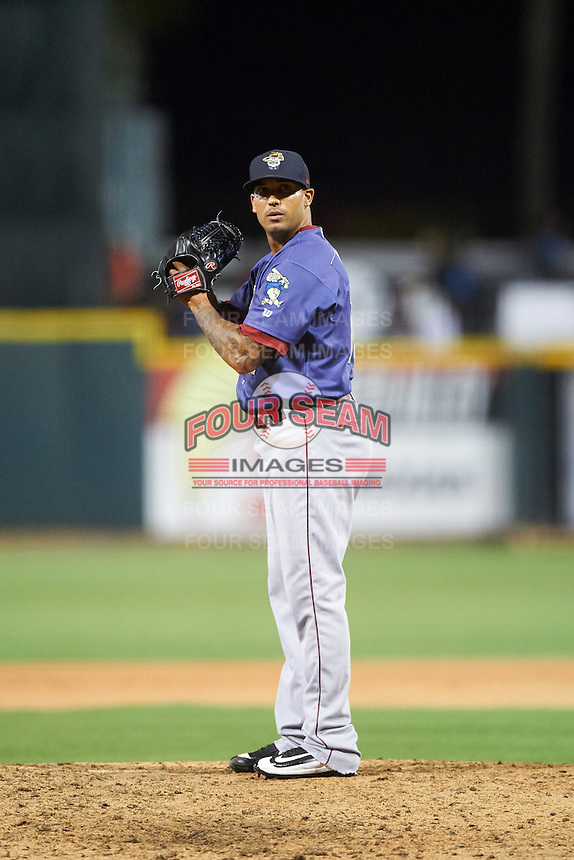 Frisco RoughRiders relief pitcher Matt Bush (10) gets ready to deliver a pitch during a game against the Corpus Christi Hooks on April 23, 2016 at Whataburger Field in Corpus Christi, Texas.  Corpus Christi defeated Frisco 3-2.  (Mike Janes/Four Seam Images)