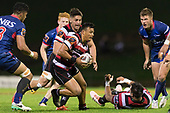 Liam Daniela carries on a Steelers attack. Mitre 10 Cup game between Counties Manukau Steelers and Tasman Mako's, played at ECOLight Stadium Pukekohe on Saturday October 14th 2017. Counties Manukau won the game 52 - 30 after trailing 22 - 19 at halftime. <br /> Photo by Richard Spranger.