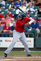 Oklahoma City RedHawks first baseman Jon Singleton (23) at bat during the Pacific Coast League baseball game against the Round Rock Express on July 9, 2013 at the Dell Diamond in Round Rock, Texas. Round Rock defeated Oklahoma City 11-8. (Andrew Woolley/Four Seam Images)