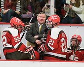 Aaron Bogosian (St. Lawrence - 32), Joe Marsh (St. Lawrence - Head Coach), Jared Keller (St. Lawrence - 21), ? - The Harvard University Crimson defeated the St. Lawrence University Saints 4-3 on senior night Saturday, February 26, 2011, at Bright Hockey Center in Cambridge, Massachusetts.