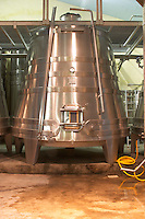 Stainless steel fermentation tanks specially designed with conical shape to increase extraction of the red wines Domaine Vignoble des Verdots Conne de Labarde Bergerac Dordogne France