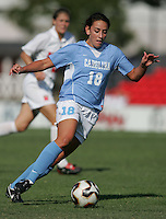 OCT 2, 2005: College Park, MD, USA:  UNC Tarheel forward #18 Brynn Hardman runs onto the ball while playing the Maryland Terrapins at Ludwig Field.  UNC won, 4-0. Mandatory Credit: Photo By Brad Smith (c) Copyright 2005 Brad Smith