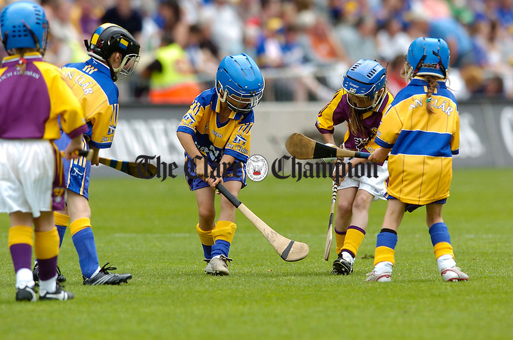 The younger generation get the privelidge of playing on the hallowed turf of Croke park at half time during the All-Ireland quarter final at Croke Park. Photograph by John Kelly.