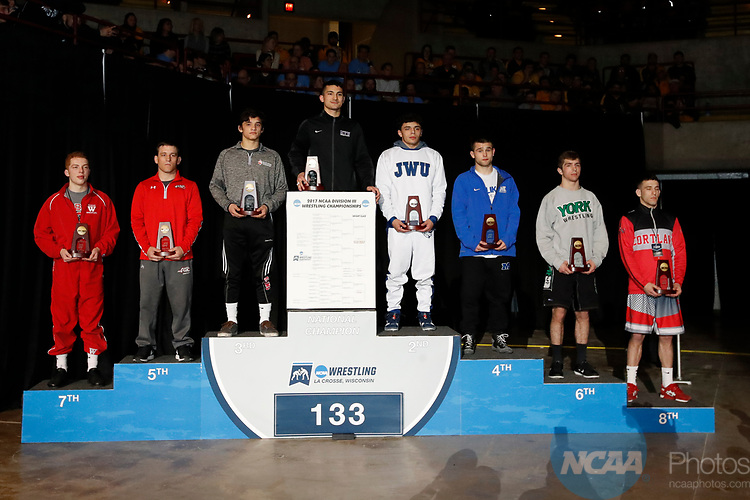 LA CROSSE, WI - MARCH 11:  The 133 weight class during the Division III Men's Wrestling Championship held at the La Crosse Center on March 11, 2017 in La Crosse, Wisconsin. (Photo by Carlos Gonzalez/NCAA Photos via Getty Images)
