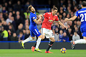 5th November 2017, Stamford Bridge, London, England; EPL Premier League football, Chelsea versus Manchester United; Nemanja Matic of Manchester Utd catches Cesc Fabregas of Chelsea face with his elbow