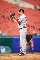 Louisville Bats starting pitcher Jon Moscot (45) gets ready to deliver a pitch during a game against the Buffalo Bisons on June 20, 2016 at Coca-Cola Field in Buffalo, New York.  Louisville defeated Buffalo 4-1.  (Mike Janes/Four Seam Images)