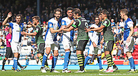 Blackburn Rovers and Doncaster Rovers tussle in the box before a corner is taken<br /> <br /> Photographer Rachel Holborn/CameraSport<br /> <br /> The EFL Sky Bet League One - Blackburn Rovers v Doncaster Rovers - Saturday August 12th 2017 - Ewood Park - Blackburn<br /> <br /> World Copyright &copy; 2017 CameraSport. All rights reserved. 43 Linden Ave. Countesthorpe. Leicester. England. LE8 5PG - Tel: +44 (0) 116 277 4147 - admin@camerasport.com - www.camerasport.com