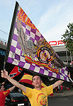 19 June 2006: A Spain fan with an Ultras Sur Madrid flag. Spain played Tunisia at the Gottlieb-Daimler Stadion in Stuttgart, Germany in match 31, a Group H first round game, of the 2006 FIFA World Cup.