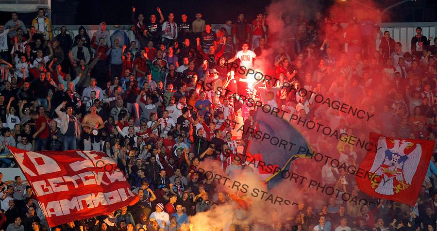 Fudbal Super liga season 2013-2014<br /> Radnicki Nis v Crvena Zvezda<br /> Delije navijaci baklje fans supporters flags<br /> Nis, 26.10.2013.<br /> foto: Srdjan Stevanovic/Starsportphoto &copy;