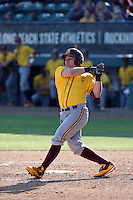 Sebastian Zawada (20) of the Arizona State Sun Devils bats against the Long Beach State Dirtbags at Blair Field on February 27, 2016 in Long Beach, California. Long Beach State defeated Arizona State, 5-2. (Larry Goren/Four Seam Images)