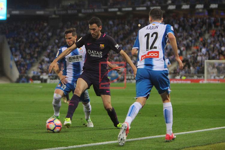 League Santander 2016/2017. Game: 35.<br /> RCD Espanyol vs FC Barcelona: 0-3.<br /> Pablo Piatti, Sergio Busquets &amp; Aaron.