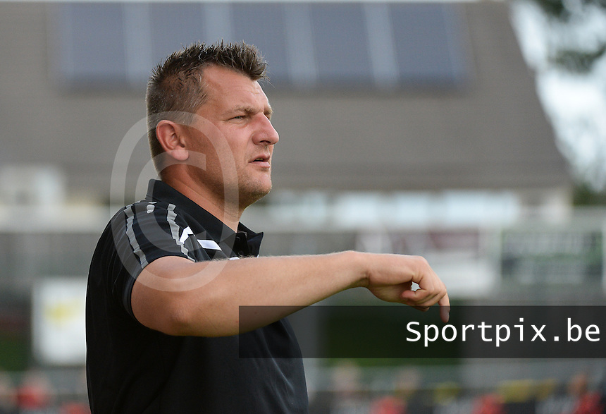 20150627 - Lauwe , BELGIUM : Kortrijk's goalkeepercoach Cedric Berthelin pictured during a friendly match between Belgian first division team KV Kortrijk and Belgian third division soccer team FC Izegem , during the preparations for the 2015-2016 season, Saturday 27th June 2015 in Lauwe. PHOTO DAVID CATRY