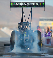 Oct 27, 2018; Las Vegas, NV, USA; NHRA top fuel driver Brittany Force does a burnout during qualifying for the Toyota Nationals at The Strip at Las Vegas Motor Speedway. Mandatory Credit: Mark J. Rebilas-USA TODAY Sports