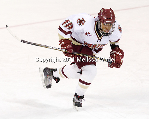 Blake Bolden (BC - 10) - The Boston College Eagles defeated the Harvard University Crimson 3-1 to win the 2011 Beanpot championship on Tuesday, February 15, 2011, at Conte Forum in Chestnut Hill, Massachusetts.