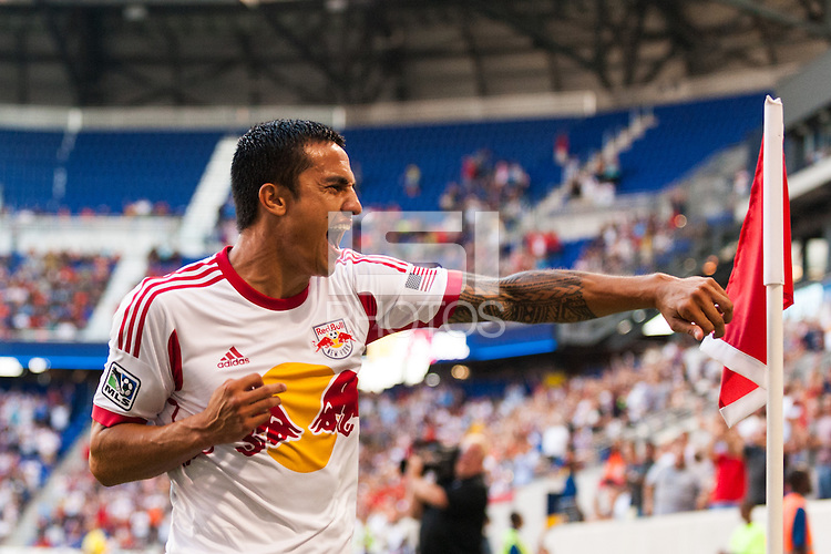Tim Cahill (17) of the New York Red Bulls celebrates scoring. The New York Red Bulls defeated Real Salt Lake 4-3 during a Major League Soccer (MLS) match at Red Bull Arena in Harrison, NJ, on July 27, 2013.