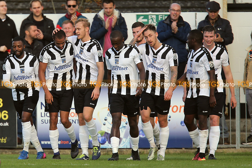 Remy Clerima (left) of Maidenhead United is congratulated after scoring the opening goal during Maidenhead United vs Dagenham & Redbridge, Vanarama National League Football at York Road on 28th October 2017