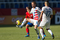 CARSON, CA - FEBRUARY 1: Jackson Yueill #6 of the United States traps a ball during a game between Costa Rica and USMNT at Dignity Health Sports Park on February 1, 2020 in Carson, California.