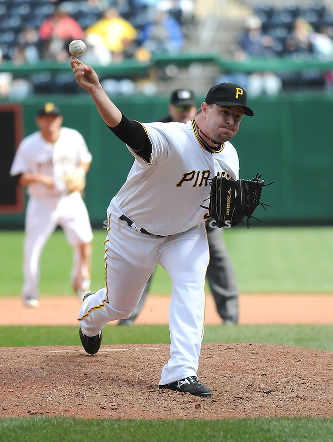 MATT CAPPS, of the Pittsburgh Pirates , in action  during the Pirates game against the Florida Marlins on April 22, 2009 in Pittsburgh, Pennsylvania  The Pirates beat the Marlins 7-4