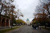 "Allerheiligen (All Saints) at Vienna's ""Zentralfriedhof"" (""Central Cemetary""), the city's biggest graveyard. Karl Borroma?us Church, better known as Dr. Karl Lueger Memorial Church, by Max Hegele."