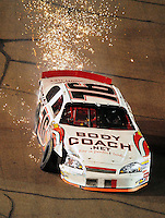 Apr 10, 2008; Avondale, AZ, USA; NASCAR Camping World Series West driver Max Dumarey sparks after hitting the wall during the Jimmie Johnson Foundation 150 at Phoenix International Raceway. Mandatory Credit: Mark J. Rebilas-