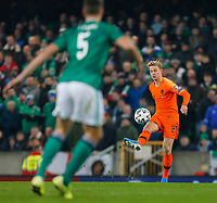 16th November 2019; Windsor Park, Belfast, Antrim County, Northern Ireland; European Championships 2020 Qualifier, Northern Ireland versus Netherlands; Frenkie de Jong of Netherlands with a high cross in front of the Norther Ireland goal - Editorial Use