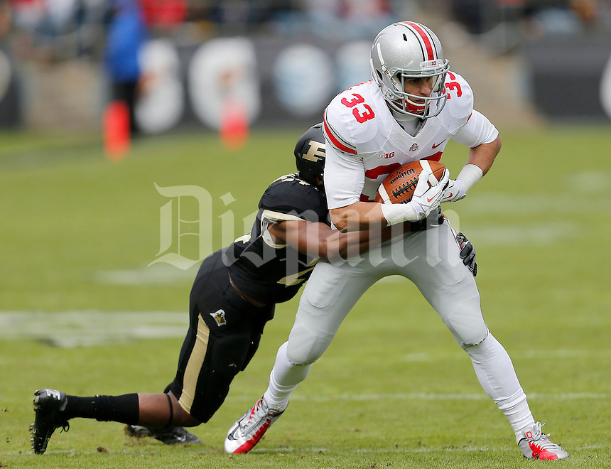 Ohio State Buckeyes wide receiver Frank Epitropoulos (33) makes a catch against Purdue Boilermakers defensive back Frankie Williams (24) during the second half of the NCAA football game at Ross-Ade Stadium in West Lafayette, IN on Saturday, November 2, 2013. (Columbus Dispatch photo by Jonathan Quilter)